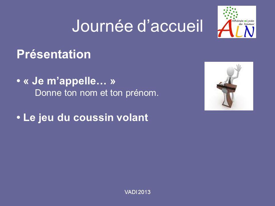 VADI 2013 Journée daccueil Présentation « Je mappelle… » Donne ton nom et ton prénom.