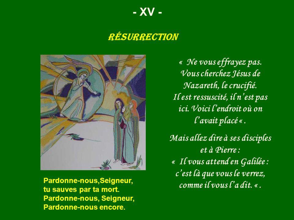 Résurrection - XV - « Ne vous effrayez pas. Vous cherchez Jésus de Nazareth, le crucifié. Il est ressuscité, il nest pas ici. Voici lendroit où on lav