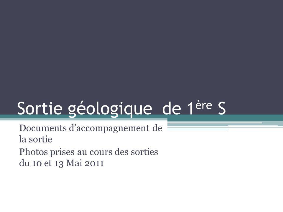 Sortie géologique de 1 ère S Documents daccompagnement de la sortie Photos prises au cours des sorties du 10 et 13 Mai 2011