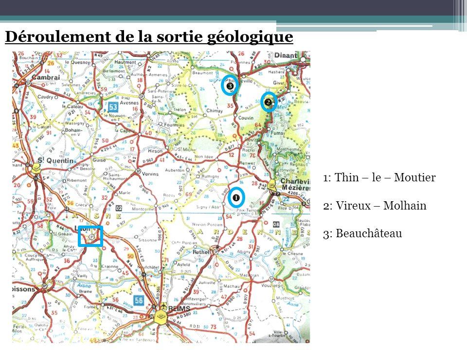 Déroulement de la sortie géologique 1: Thin – le – Moutier 2: Vireux – Molhain 3: Beauchâteau