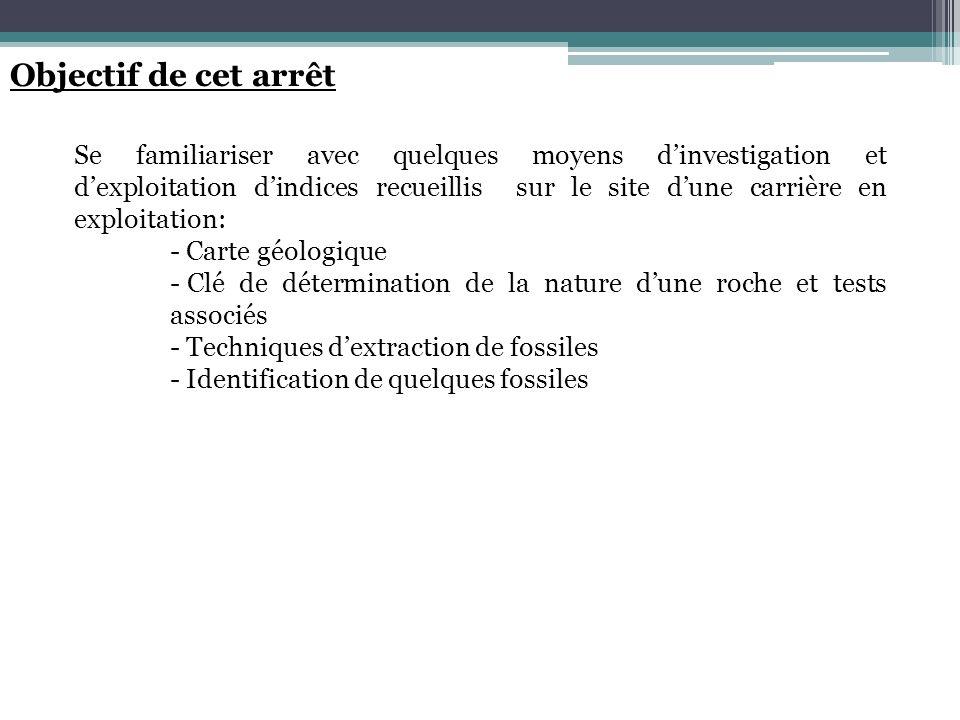 Objectif de cet arrêt Se familiariser avec quelques moyens dinvestigation et dexploitation dindices recueillis sur le site dune carrière en exploitati