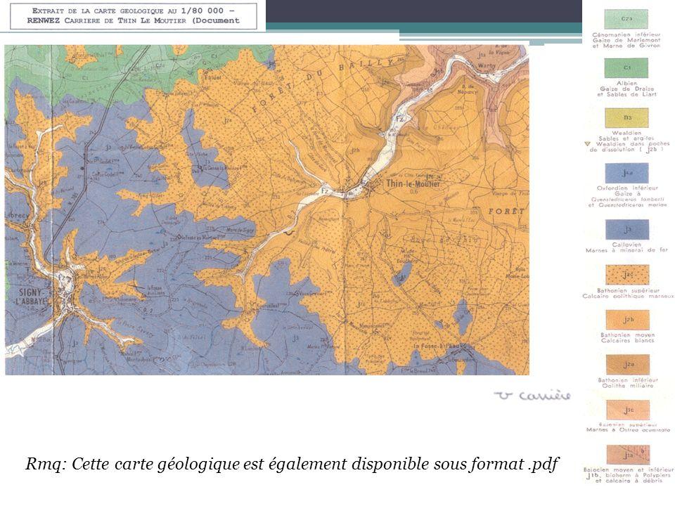 Rmq: Cette carte géologique est également disponible sous format.pdf