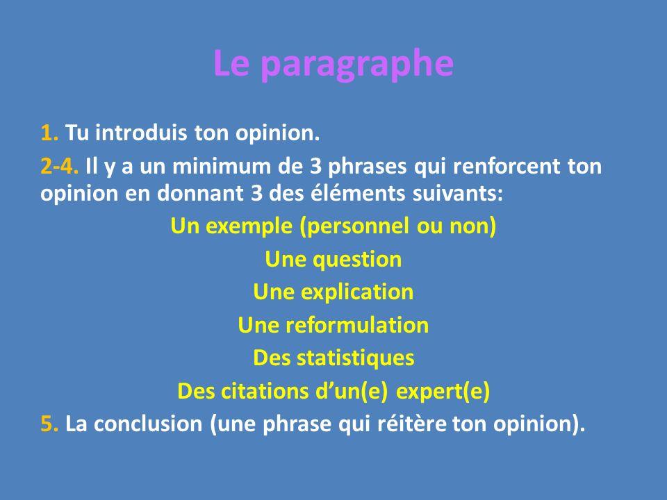 Le paragraphe 1. Tu introduis ton opinion. 2-4. Il y a un minimum de 3 phrases qui renforcent ton opinion en donnant 3 des éléments suivants: Un exemp