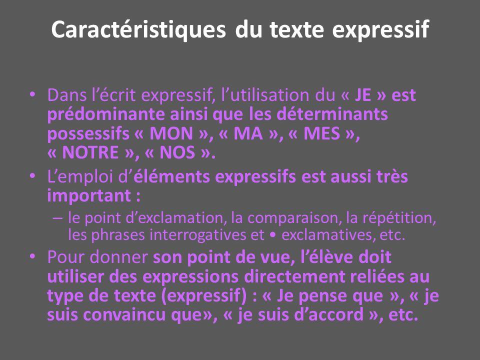 Caractéristiques du texte expressif Dans lécrit expressif, lutilisation du « JE » est prédominante ainsi que les déterminants possessifs « MON », « MA