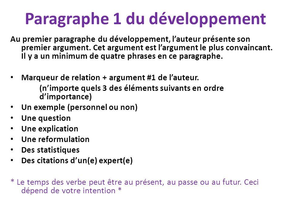 Paragraphe 1 du développement Au premier paragraphe du développement, lauteur présente son premier argument. Cet argument est largument le plus convai