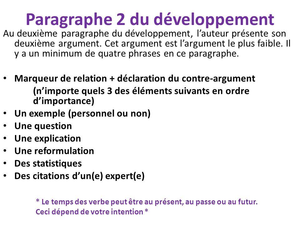 Paragraphe 3 du développement Au troisième paragraphe du développement, lauteur présente son dernier argument.