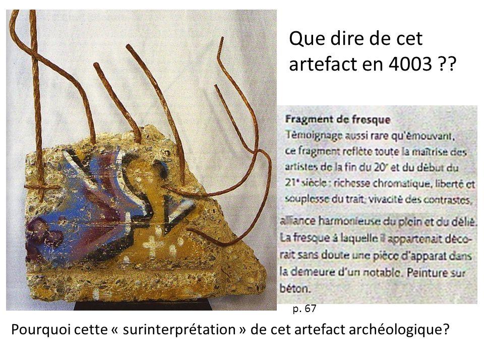 p. 67 Pourquoi cette « surinterprétation » de cet artefact archéologique? Que dire de cet artefact en 4003 ??