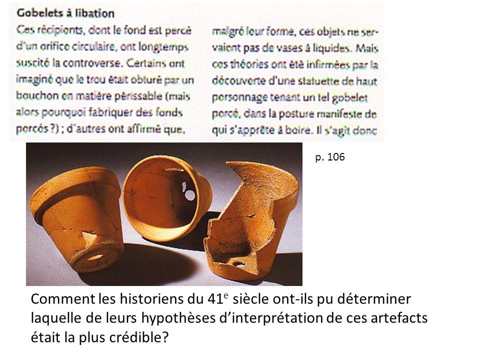 p. 106 Comment les historiens du 41 e siècle ont-ils pu déterminer laquelle de leurs hypothèses dinterprétation de ces artefacts était la plus crédibl