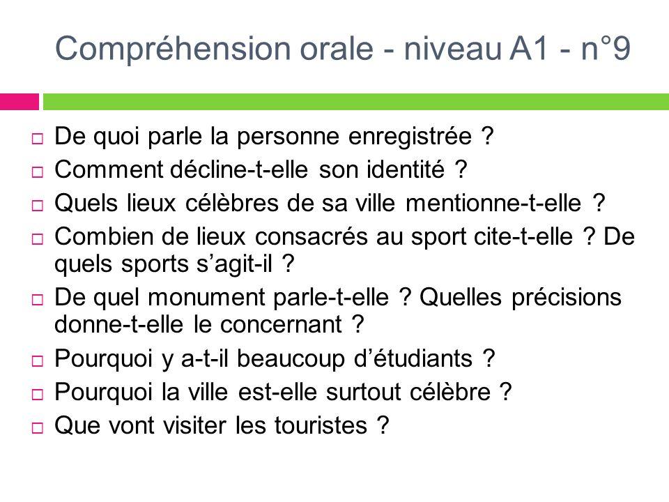 Compréhension orale - niveau A1 - n°9 De quoi parle la personne enregistrée ? Comment décline-t-elle son identité ? Quels lieux célèbres de sa ville m
