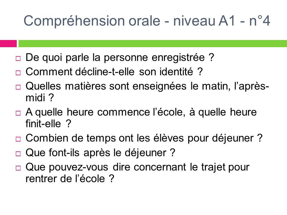 Compréhension orale - niveau A1 - n°4 De quoi parle la personne enregistrée ? Comment décline-t-elle son identité ? Quelles matières sont enseignées l