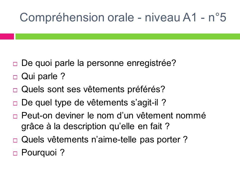 Compréhension orale - niveau A1 - n°5 De quoi parle la personne enregistrée? Qui parle ? Quels sont ses vêtements préférés? De quel type de vêtements