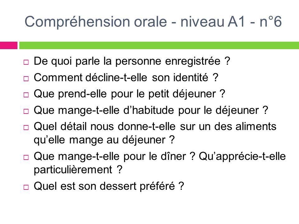 Compréhension orale - niveau A1 - n°6 De quoi parle la personne enregistrée ? Comment décline-t-elle son identité ? Que prend-elle pour le petit déjeu