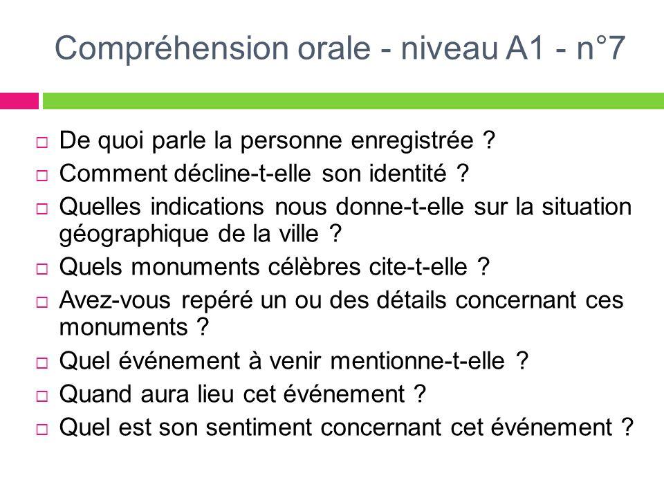 Compréhension orale - niveau A1 - n°7 De quoi parle la personne enregistrée ? Comment décline-t-elle son identité ? Quelles indications nous donne-t-e