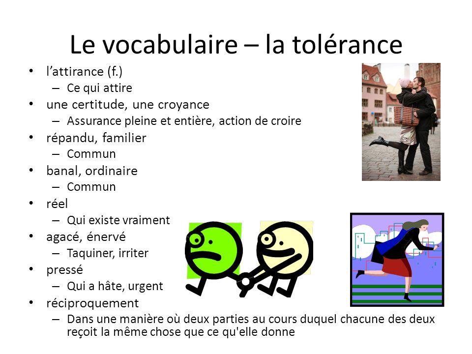 Le vocabulaire – la tolérance lattirance (f.) – Ce qui attire une certitude, une croyance – Assurance pleine et entière, action de croire répandu, fam