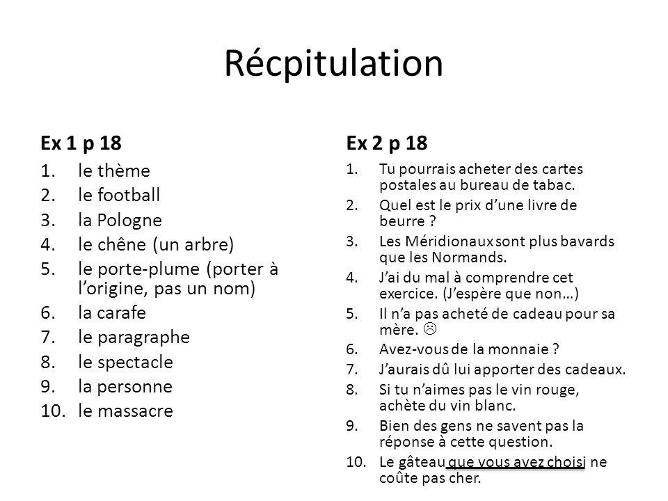Récpitulation Ex 1 p 18 1.le thème 2.le football 3.la Pologne 4.le chêne (un arbre) 5.le porte-plume (porter à lorigine, pas un nom) 6.la carafe 7.le