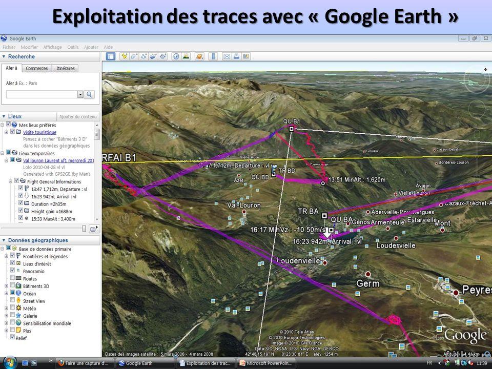 Exploitation des traces avec « Google Earth »