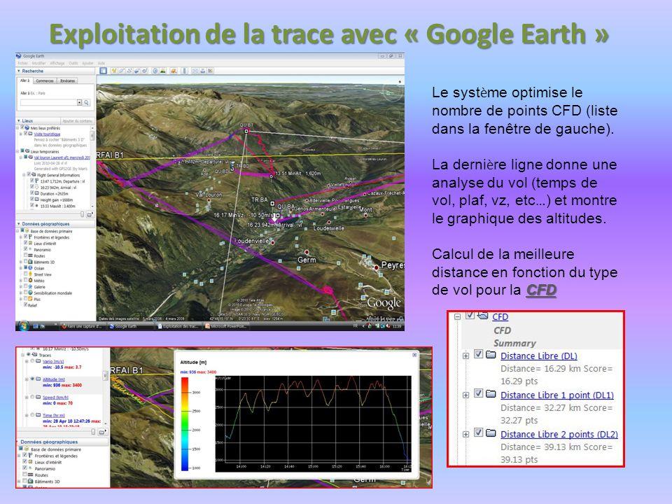Exploitation de la trace avec « Google Earth » Le syst è me optimise le nombre de points CFD (liste dans la fenêtre de gauche). La derni è re ligne do