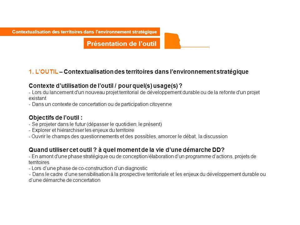 1. LOUTIL – Contextualisation des territoires dans lenvironnement stratégique Contexte dutilisation de loutil / pour quel(s) usage(s) ? - Lors du lanc