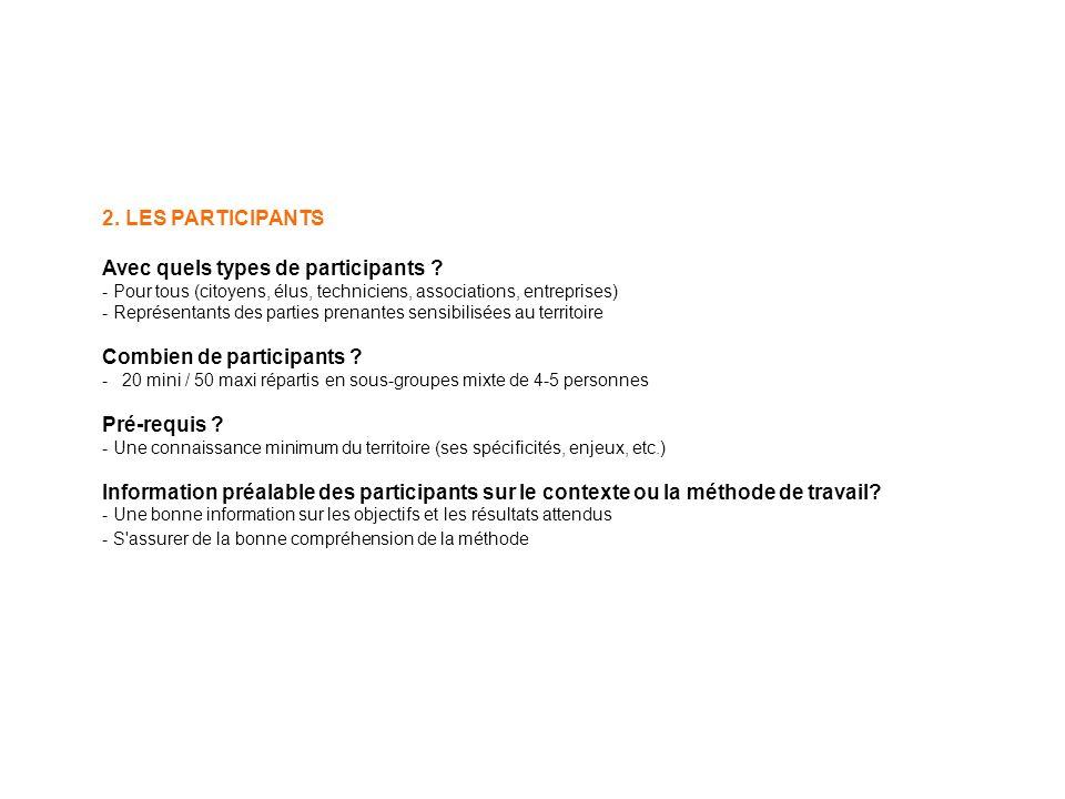 2. LES PARTICIPANTS Avec quels types de participants .