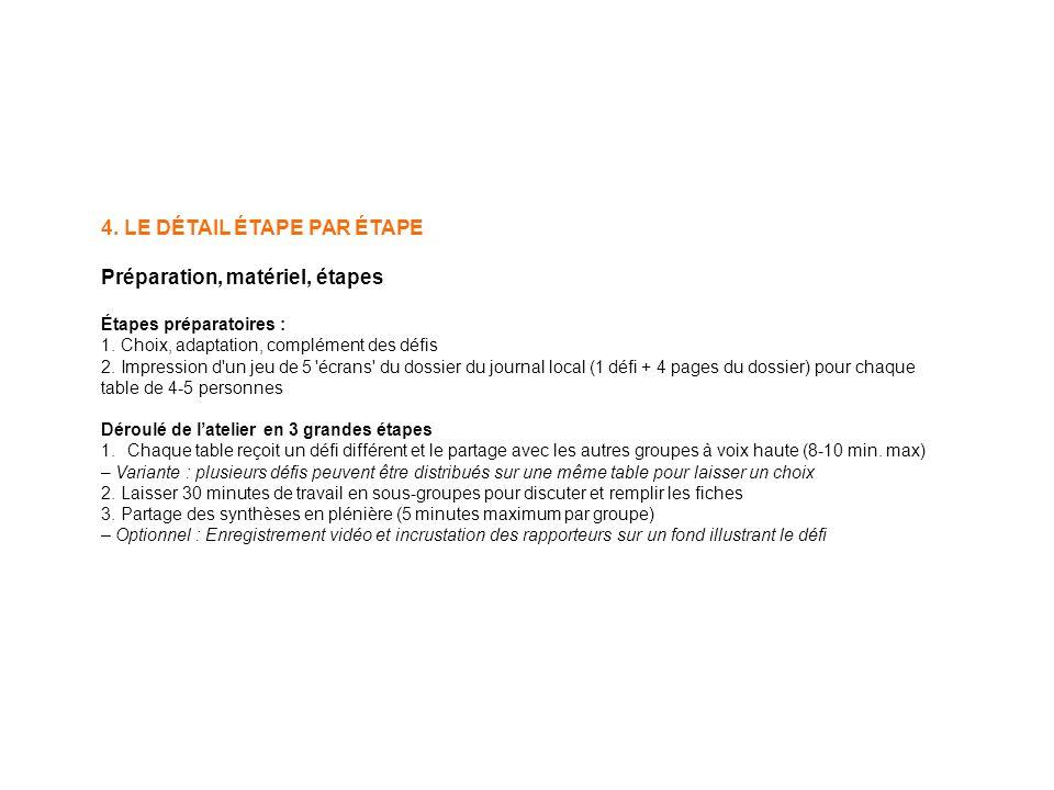 4. LE DÉTAIL ÉTAPE PAR ÉTAPE Préparation, matériel, étapes Étapes préparatoires : 1.