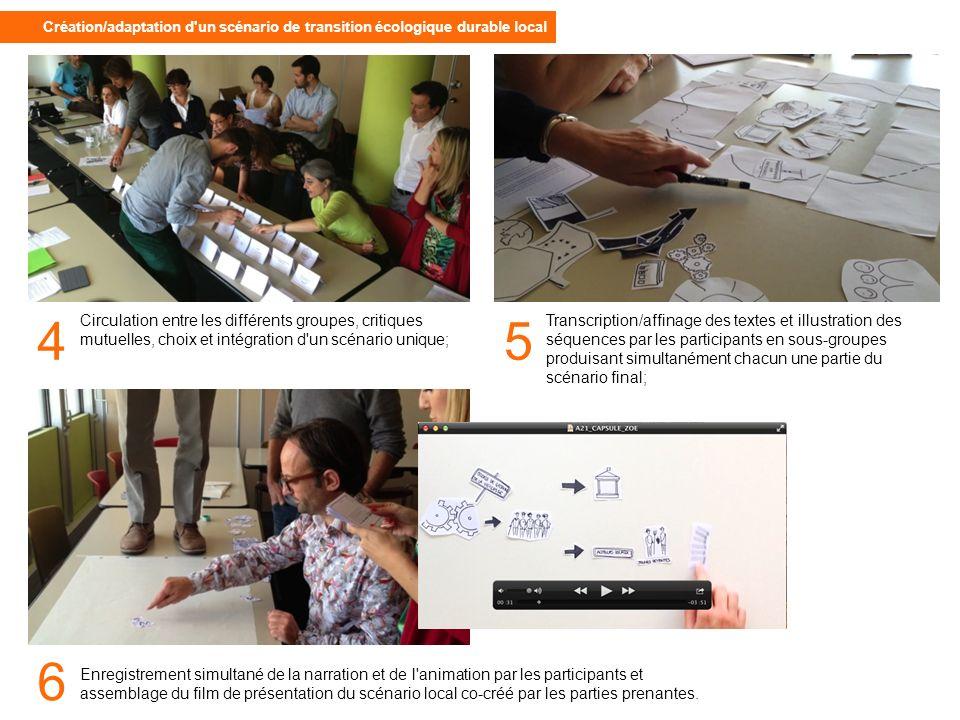 Circulation entre les différents groupes, critiques mutuelles, choix et intégration d un scénario unique; Enregistrement simultané de la narration et de l animation par les participants et assemblage du film de présentation du scénario local co-créé par les parties prenantes.