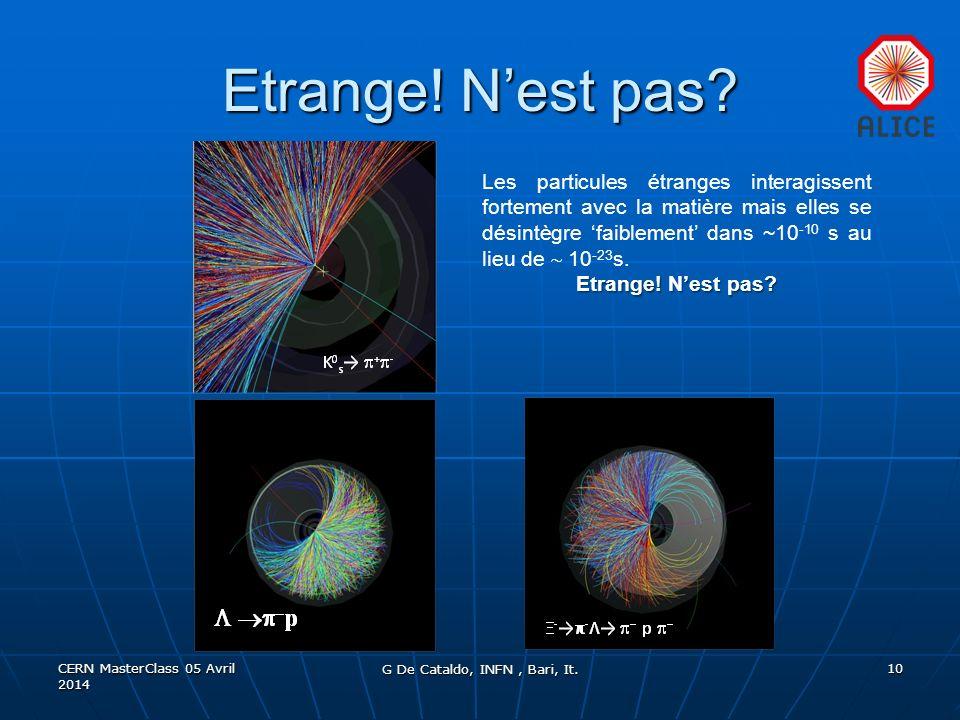 Etrange! Nest pas? CERN MasterClass 05 Avril 2014 G De Cataldo, INFN, Bari, It. 10 Les particules étranges interagissent fortement avec la matière mai