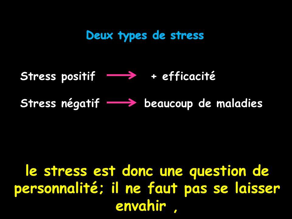 le stress est donc une question de personnalité; il ne faut pas se laisser envahir,