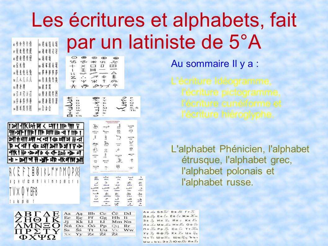 Les écritures et alphabets, fait par un latiniste de 5°A a Au sommaire Il y a : L'écriture Idéogramme, l'écriture pictogramme, l'écriture cunéiforme e