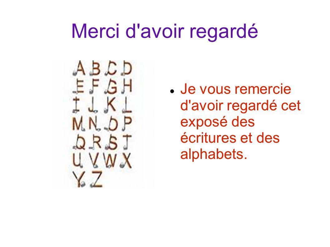 Je vous remercie d'avoir regardé cet exposé des écritures et des alphabets. Merci d'avoir regardé a