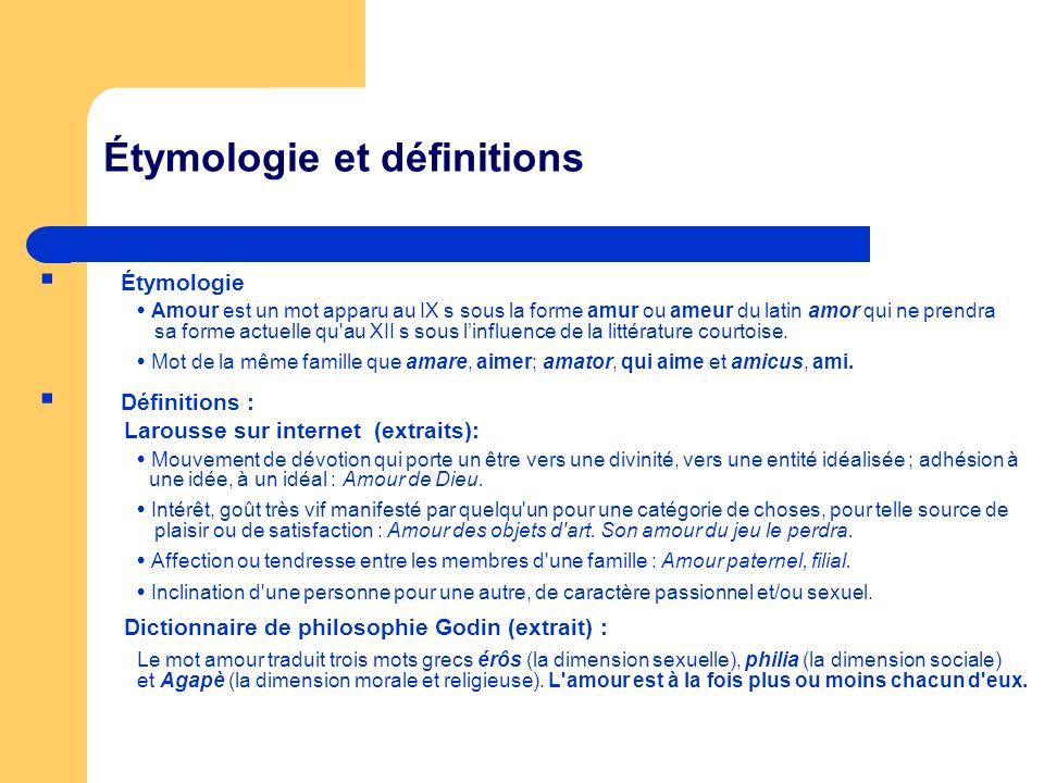 Étymologie et définitions Étymologie Amour est un mot apparu au IX s sous la forme amur ou ameur du latin amor qui ne prendra sa forme actuelle qu'au