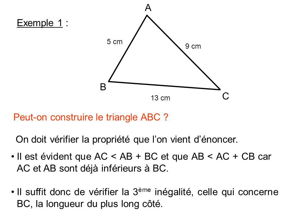 Exemple 1 : Peut-on construire le triangle ABC ? A B C 9 cm 5 cm 13 cm On doit vérifier la propriété que lon vient dénoncer. Il est évident que AC < A