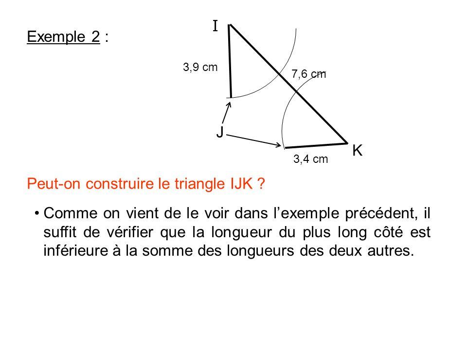 A B C 9 cm 5 cm 13 cm BC = 13 cm BA + AC= 5 + 9 = 14 cm La longueur de chacun des côtés étant donc inférieure à la somme des deux autres, on peut donc