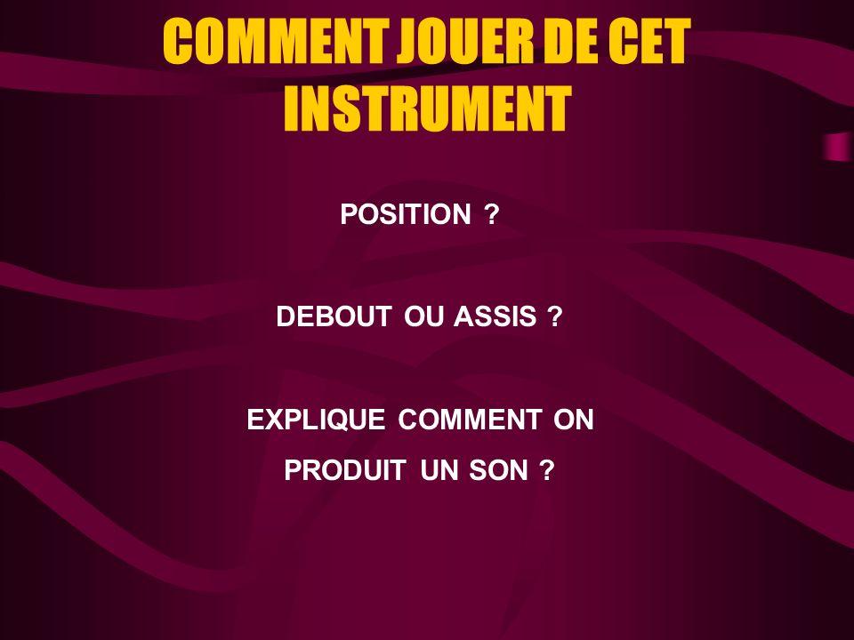 COMMENT JOUER DE CET INSTRUMENT POSITION ? DEBOUT OU ASSIS ? EXPLIQUE COMMENT ON PRODUIT UN SON ?