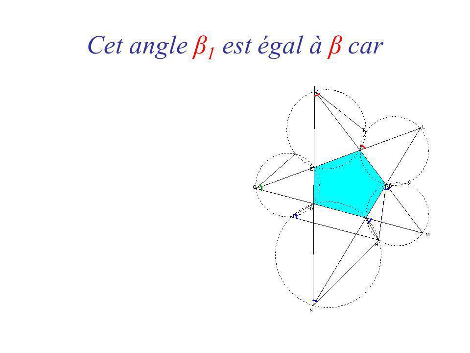 Cet angle β 1 est égal à β car