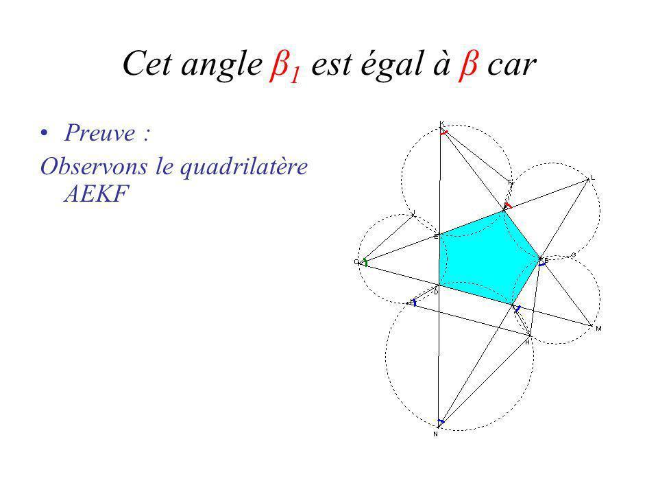 Cet angle β 1 est égal à β car Preuve : Observons le quadrilatère AEKF