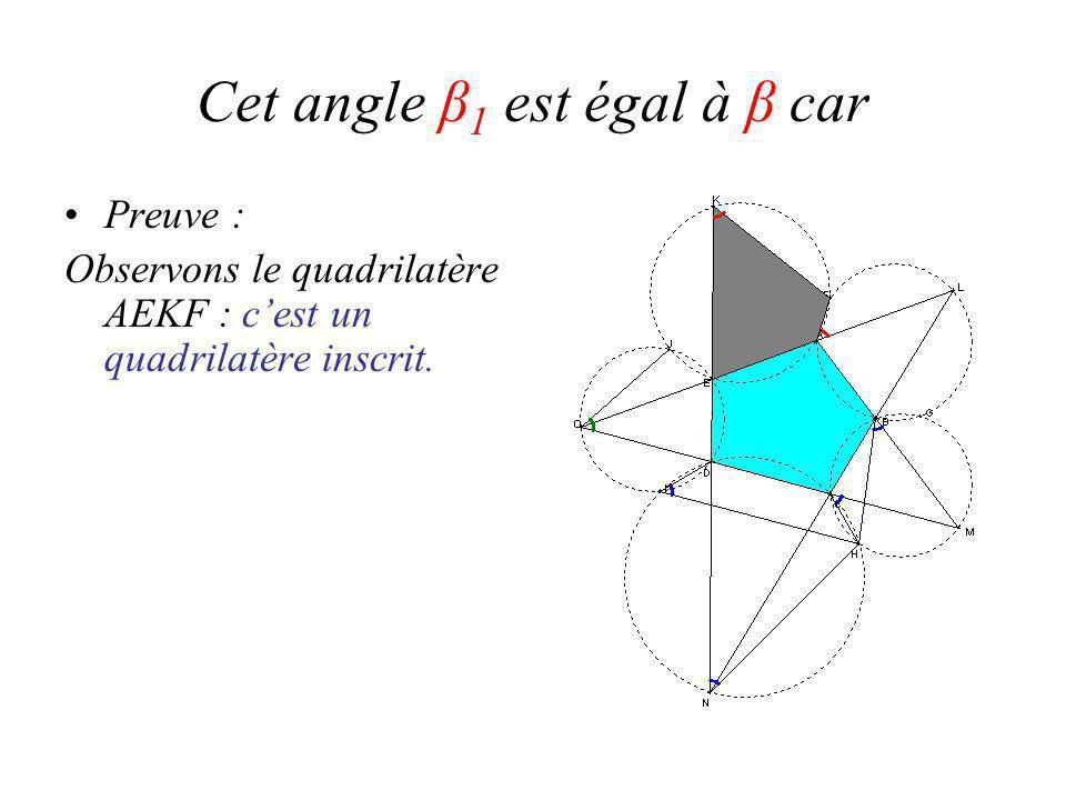 Cet angle β 1 est égal à β car Preuve : Observons le quadrilatère AEKF : cest un quadrilatère inscrit.