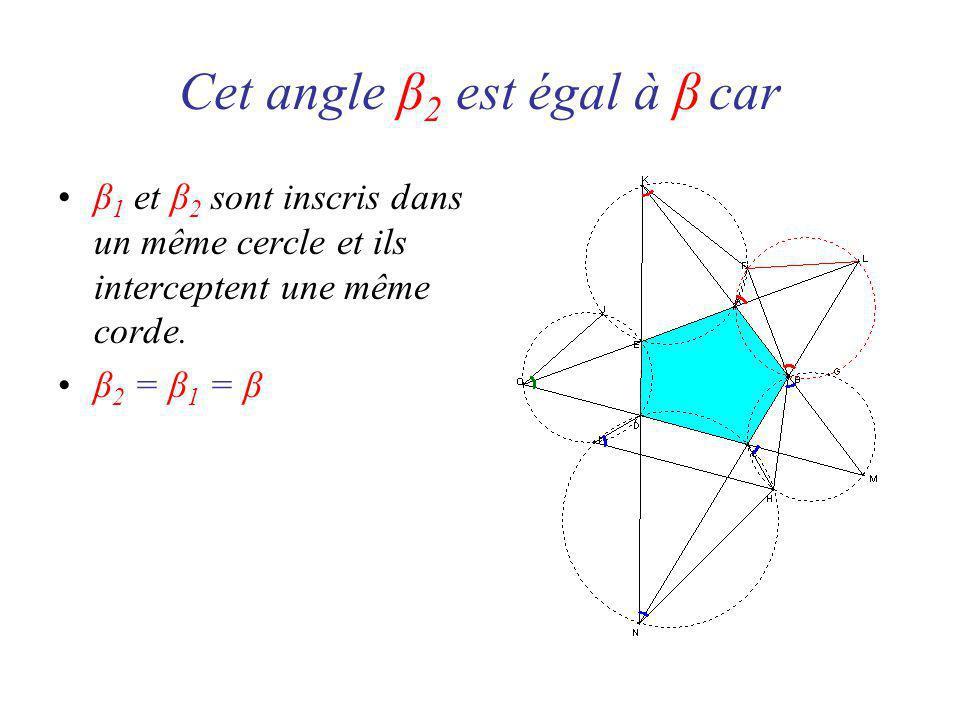 Cet angle β 2 est égal à β car β 1 et β 2 sont inscris dans un même cercle et ils interceptent une même corde.