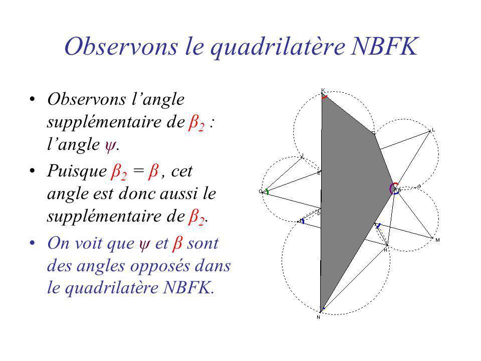 Observons le quadrilatère NBFK Observons langle supplémentaire de β 2 : langle ψ.