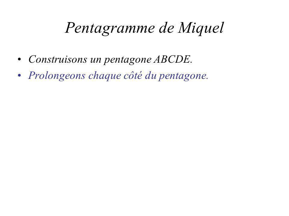 Pentagramme de Miquel Construisons un pentagone ABCDE. Prolongeons chaque côté du pentagone.