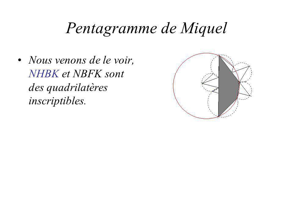 Pentagramme de Miquel Nous venons de le voir, NHBK et NBFK sont des quadrilatères inscriptibles.