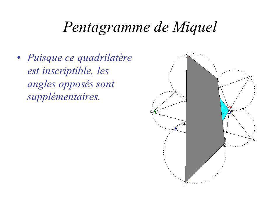 Pentagramme de Miquel Puisque ce quadrilatère est inscriptible, les angles opposés sont supplémentaires.