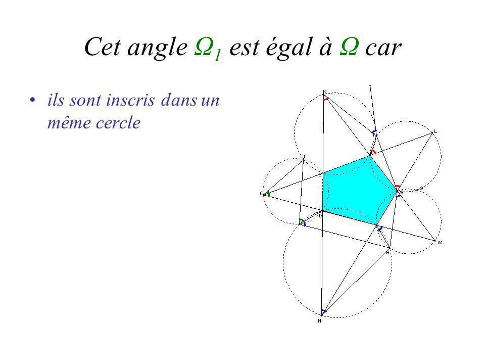 Cet angle Ω 1 est égal à Ω car ils sont inscris dans un même cercle