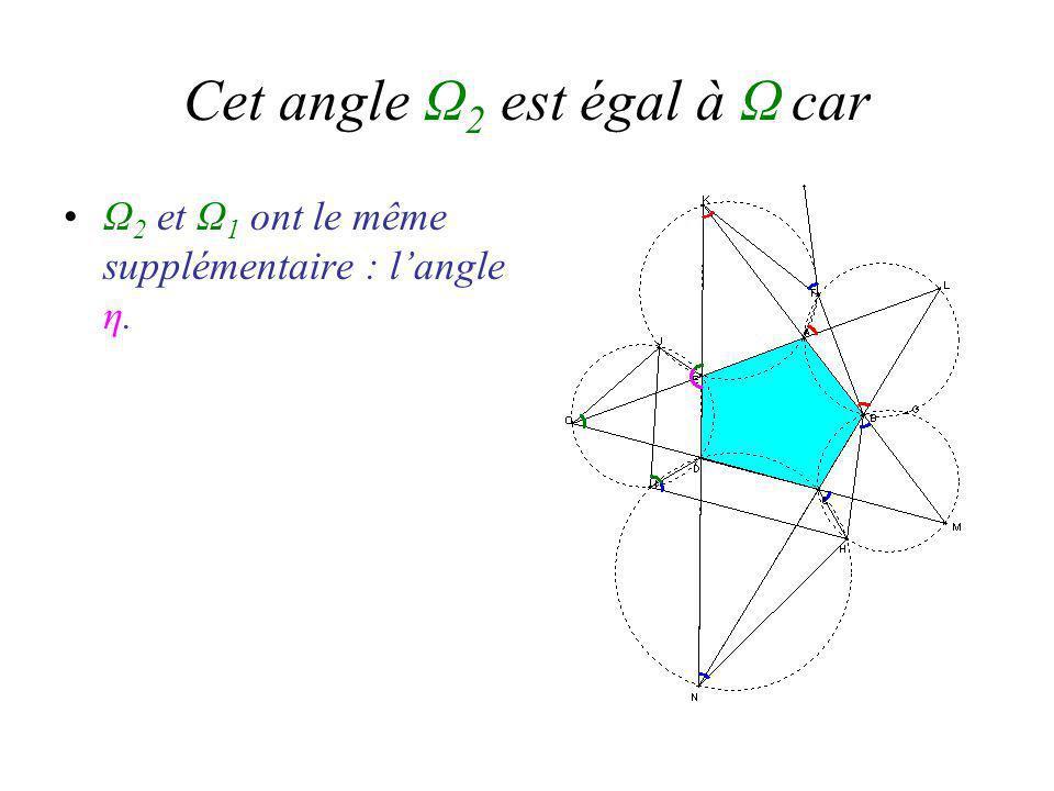 Cet angle Ω 2 est égal à Ω car Ω 2 et Ω 1 ont le même supplémentaire : langle η.