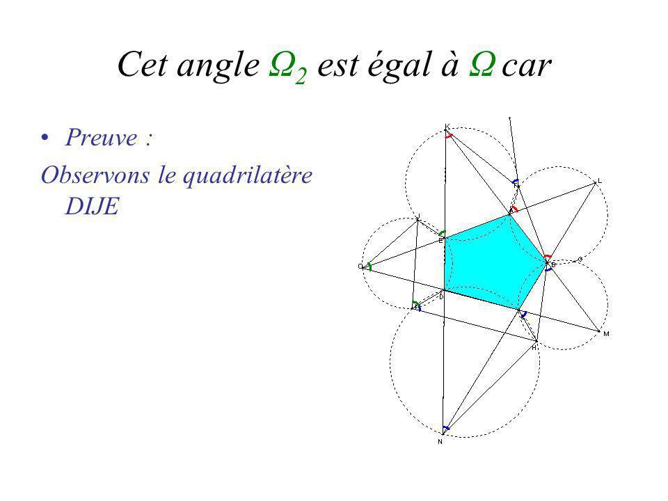 Cet angle Ω 2 est égal à Ω car Preuve : Observons le quadrilatère DIJE