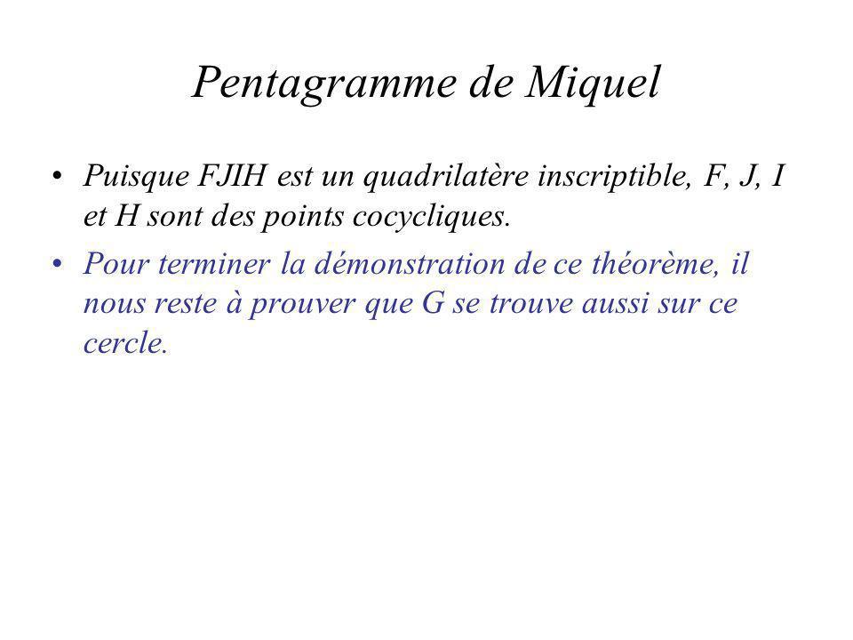 Pentagramme de Miquel Puisque FJIH est un quadrilatère inscriptible, F, J, I et H sont des points cocycliques.