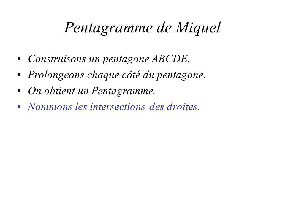 Pentagramme de Miquel Construisons un pentagone ABCDE.