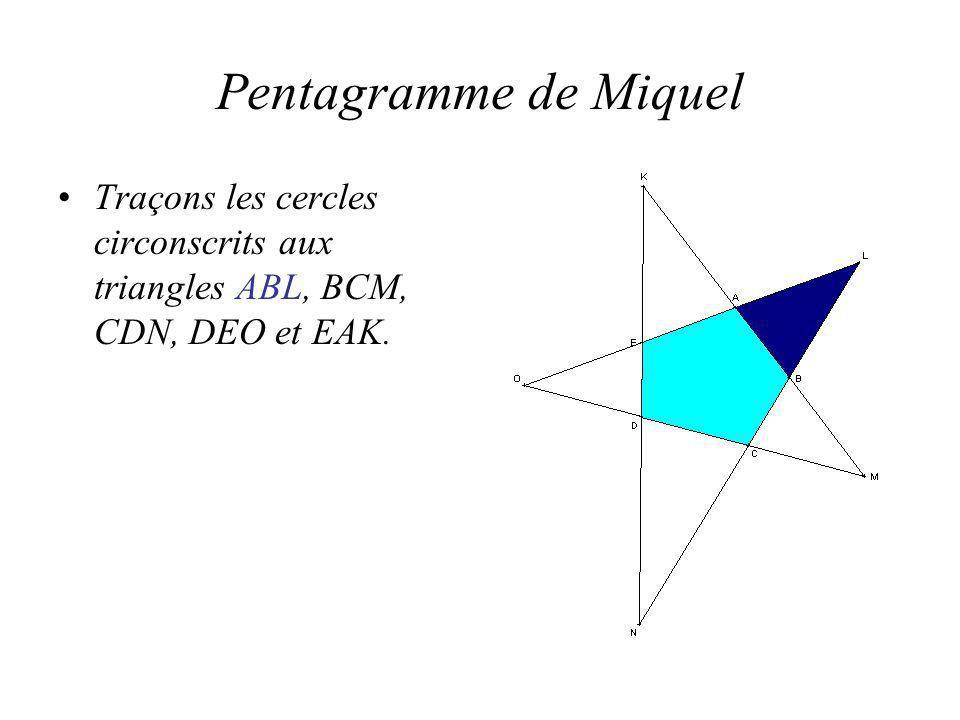 Pentagramme de Miquel Traçons les cercles circonscrits aux triangles ABL, BCM, CDN, DEO et EAK.