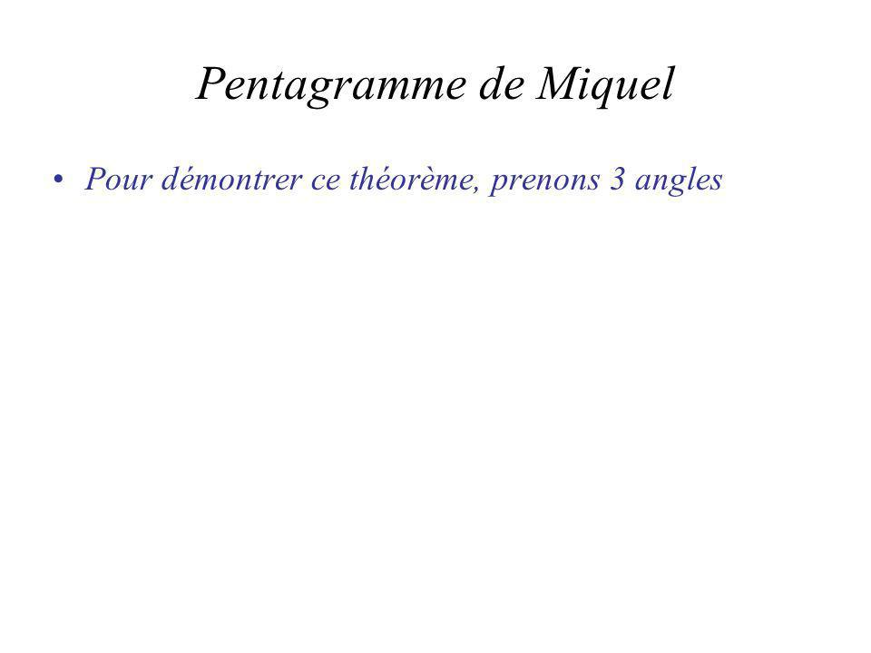 Pentagramme de Miquel Pour démontrer ce théorème, prenons 3 angles