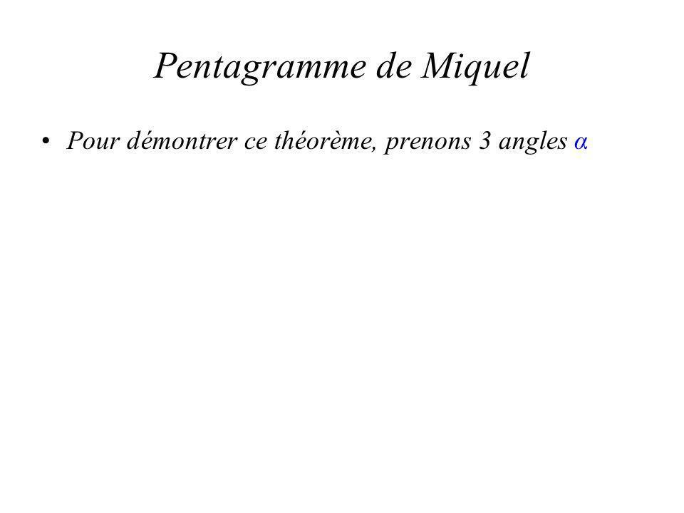 Pentagramme de Miquel Pour démontrer ce théorème, prenons 3 angles α