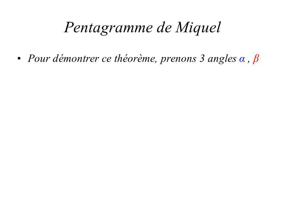 Pentagramme de Miquel Pour démontrer ce théorème, prenons 3 angles α, β